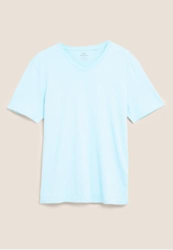 MARKS & SPENCER blue M&S Pure Cotton V-Neck T-Shirt 28A23AAF1A6477GS_1