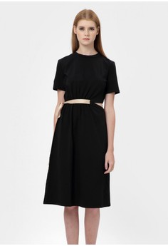 Ribbon and Shirt Dress in Black
