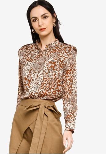 Zalia brown Front Pocket Shoulder Pad Shirt 7B656AA4BDF14BGS_1
