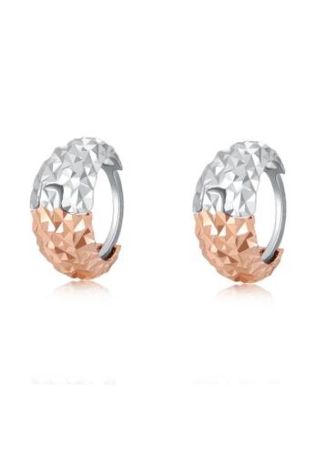 MaBelle silver 14K 585 White and Rose Gold Diamond Cut Huggie Hoop Earrings D166AAC2CA5BDBGS_1