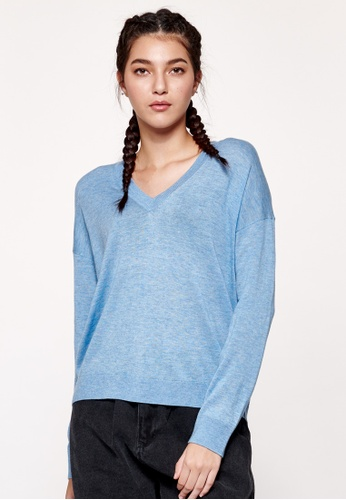 United Colors of Benetton blue V-neck Sweater 3F368AA96FB4A0GS_1