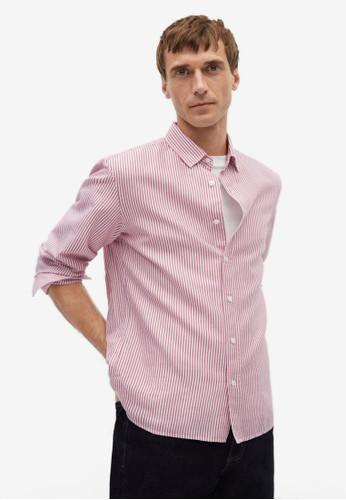 Mango Man red Regular Fit Striped Cotton Shirt 2D74BAAE8AA67BGS_1