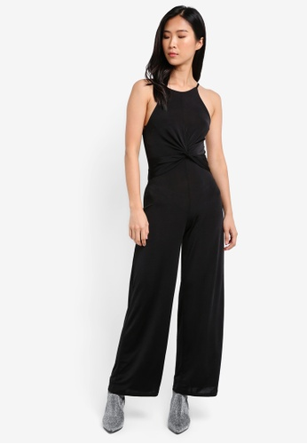 Miss Selfridge black Petite Jersey Knot Jumpsuit MI665AA0SIT1MY_1