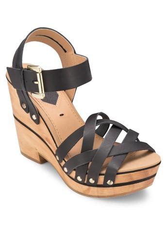 Biesprit分店lba 交叉帶木製楔形鞋, 女鞋, 鞋