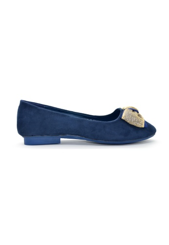 SHINE blue Square Toe Lace Ribbon Flats SH554SH0GEPESG_1
