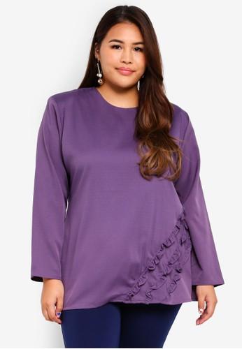 Gene Martino purple Plus Size Ruffles Top 5E981AA224AD3DGS_1