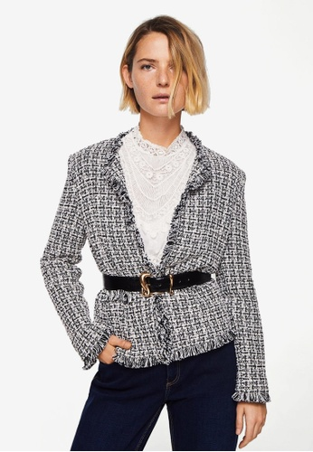 Mango black Trim Tweed Jacket 261C3AA4145C10GS_1