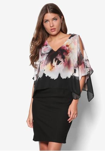 花卉層疊洋裝, 服esprit 衣服飾, 洋裝
