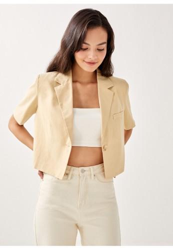 Love, Bonito yellow Emerson Shoulder Padded Tailored Blazer E0B14AA8740988GS_1