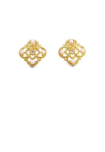 Glamorousky white 925 Sterling Silver Plated Gold Simple Vintage Pattern Four-leafed Clover Freshwater Pearl Stud Earrings with Cubic Zirconia 12E86AC95A750CGS_1