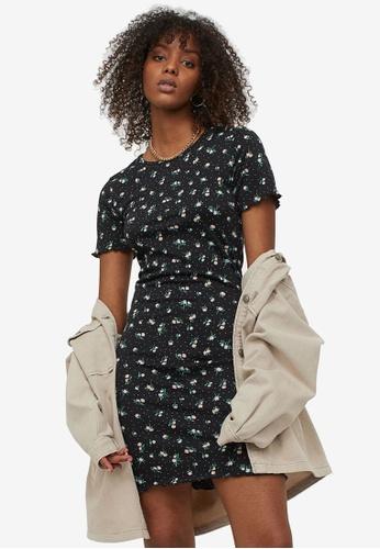 H&M black and multi Smocked Dress E493FAA405266CGS_1