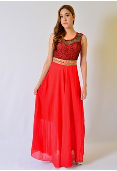 AW Maxi Chiffon with Lace Combination