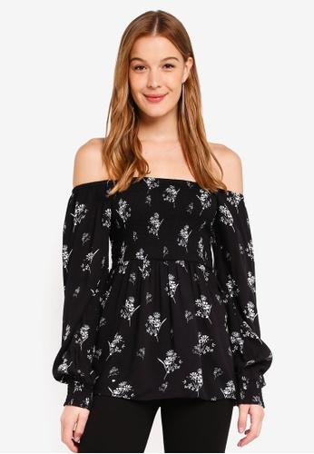 Dorothy Perkins black Black Floral Print Top 90D0BAA34A4A18GS_1