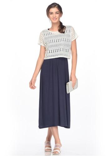 MOOIMOM navy MOOIMOM 2 Piece Maternity & Nursing Dress With Lace Top Baju Hamil Menyusui - Navy MO368AA0UBREID_1