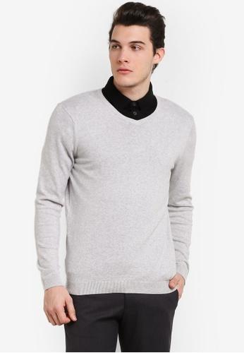 Burton Menswear London grey Silver V-Neck Jumper BU964AA0RJERMY_1