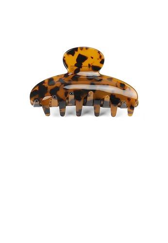 Glamorousky silver Fashion High-end Dark Tortoiseshell Geometric Small Hair Claw CCB86AC496EFB6GS_1