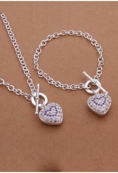 Celeste Heart Necklace and Earrings Set
