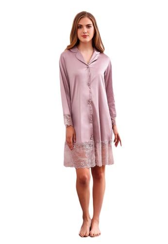 LYCKA 紫色 LCB8026-女士一件式居家休閒睡衣-紫色 D4915AA4B8989AGS_1