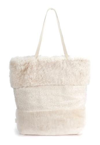 Shu Talk beige LISA CONTE Italian Made Fluffy shopper Bag 84C1EAC3C53789GS_1