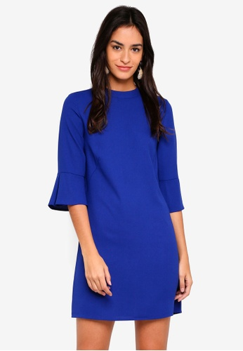 ZALORA blue Flare Sleeves Dress B3CB2AAB92BA3FGS_1