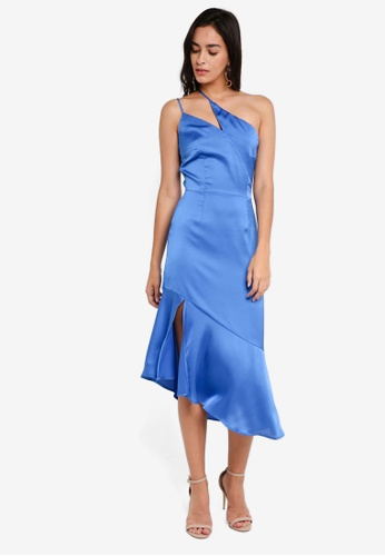 Lavish Alice blue Satin One Shoulder Asymmetric Hem Dress LA457AA0SSQUMY_1