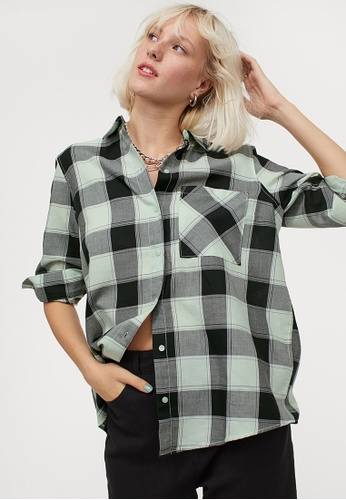 H&M green Cotton Shirt 6F8D5AA143CC20GS_1