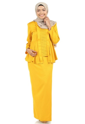 Marzia Kebaya Peplum with Pleats from Ashura in Yellow