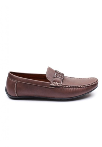 Moley brown Leather Twine Strap Loafer MO329SH71NIASG_1