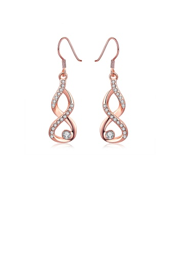 Glamorousky white Plated  Rose Gold Minimalist Earrings with Austrian Element Crystal 17EF9AC0FFC84CGS_1
