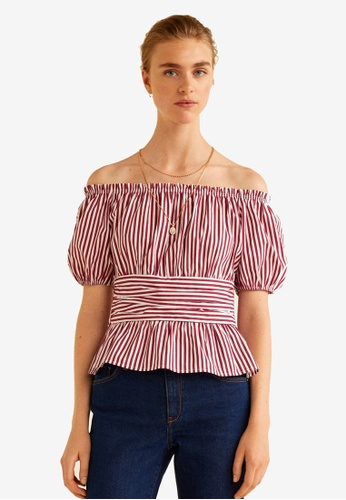 Mango red Off-Shoulder Cotton Blouse DEE10AA4A07480GS_1