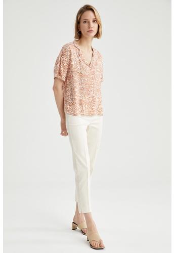 DeFacto beige Short Sleeve Viscose Shirt AD058AAC74A362GS_1