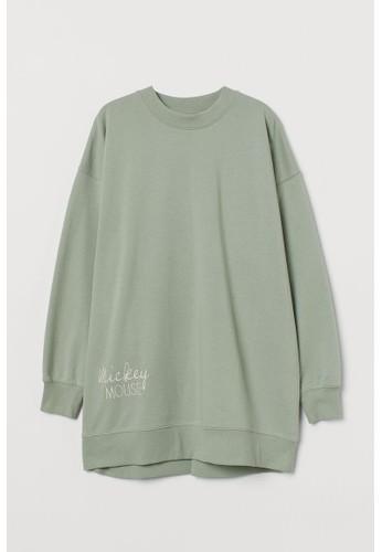 H&M green Printed sweatshirt dress 9A437AA862C709GS_1