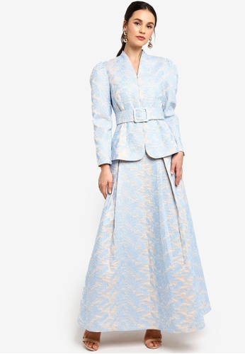 Zalia blue and beige Belted Textured Jacket With Flare Skirt 53017AAFC783F9GS_1
