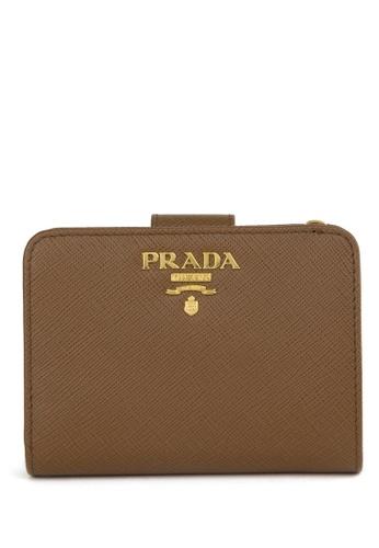 Prada brown Saffiano Leather Wallet 3EB3CAC7FC5CA1GS_1