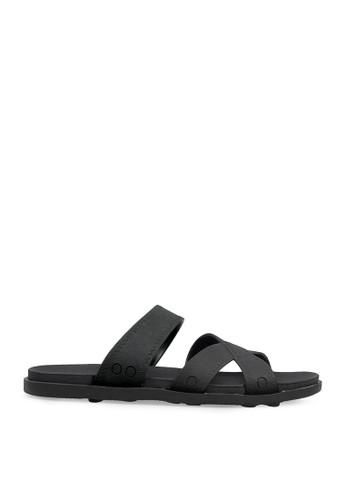 Minarno black Black Multi Strap Sandals MI641SH0VNBLID_1