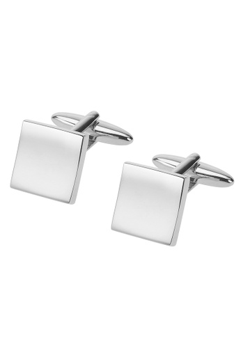 CUFF IT silver Silver Blank Curved Metal Cufflinks CU047AC36FSDHK_1