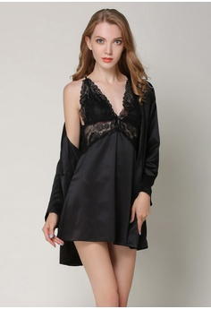 4115aecef3 SMROCCO black Silk Women Nightie with Robe L8004 (Black) F12EDAA6256425GS 1