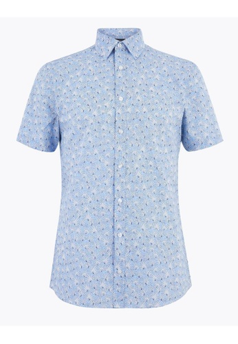 MARKS & SPENCER blue M&S Slim Fit Cotton Floral Shirt FE26FAA6E227A2GS_1