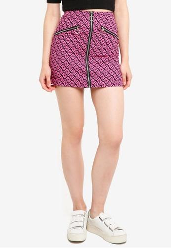 Factorie purple Zip Front A Line Skirt 4E7E8AA3CC37B2GS_1