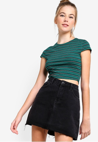 Something Borrowed green Cropped Ribbed Tee 9E755AA95CCA32GS_1
