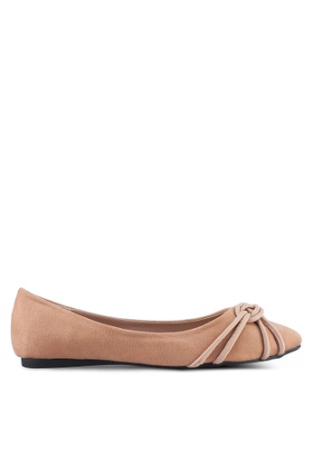 Something Borrowed beige Knot detail Ballerina Flats CC444SH86063FEGS_1