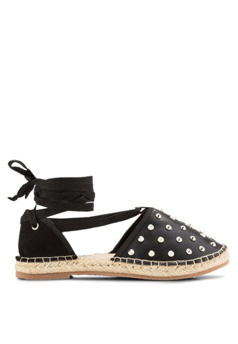 Something Borrowed black Studded Lace Up Espadrille Flats B0F65SH05662C8GS_1
