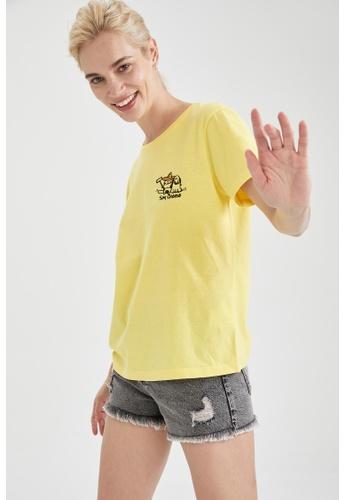 DeFacto yellow Short Sleeve Round Neck Cotton T-Shirt 4E355AA5C5269DGS_1