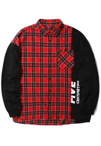 Fivecm red Logo panelled plaid shirt D7952AA700E380GS_1