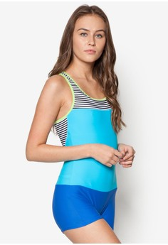 One Piece Sleeveless Square Bottom Suit