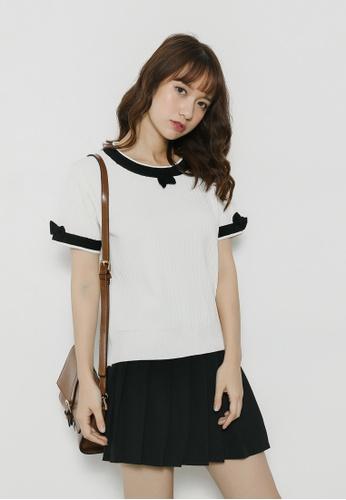 Shopsfashion black and white Monochrom Knitted Blouse SH656AA80ENRSG_1