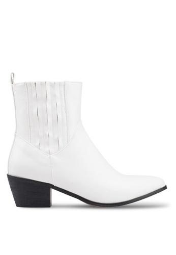 919e8dcdb23 Public Desire white Beetle Low Heel Western Ankle Boots 57DBBSH06BB69FGS 1