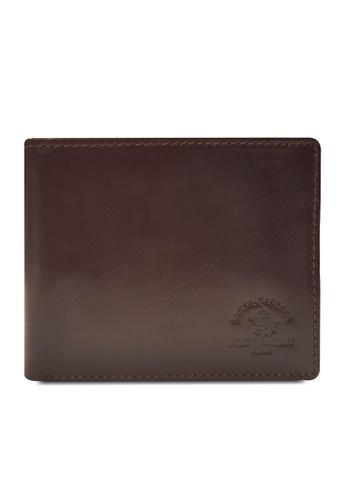 Santa Barbara Polo & Racquet Club brown Santa Barbara Luxurious Leather Bifold Wallet SA678AC0GQ97SG_1