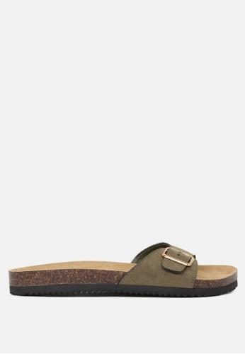 London Rag green Comfort Sliders with Adjustable Toe Strap 773F6SH71F9E7CGS_1