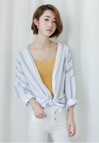 Shopsfashion white and blue Loose Fit V Nevk Top SH656AA89VXMSG_1